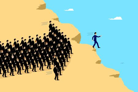 A vector illustration of businessmen blindly following their leader over the edge of a cliff.   A metaphor on teamwork  leadership and social influence.