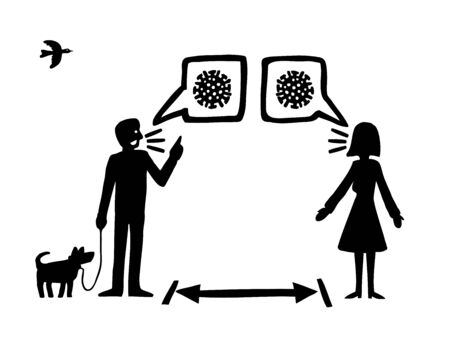 A cartoon style illustration of two people having a conversation about about the Covid-19 virus while social distancing. 向量圖像