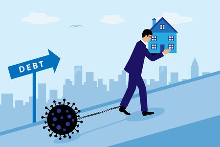 A businessman dragging a virus chained to his leg up a hil while carring a house in his handsl. A metaphor on the impact of the Covid-19 virus on the property market. 向量圖像
