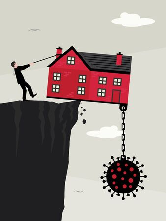 A house on a the edge of a cliff, weighed down with a large Covid-19 virus and a man pulling a rope to try to stop it falling. A vector illustration and metaphor about property debt and finance and the effect of the Covid-19 virus on the industry. Illustration