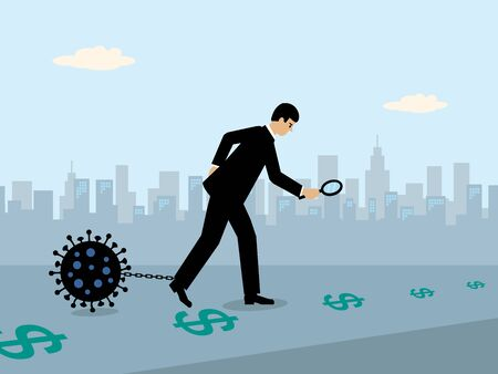 A businessman following a money trail of Dollar symbols while a large Covid-19 virus is attached to a chain on his leg. A metaphor on the Covid-19 virus and its economic drag on the economy.