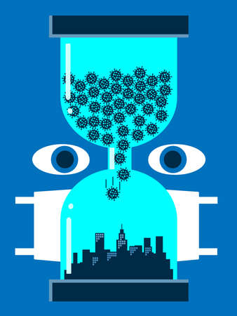 An illustration of an egg timer with the covid virus falling onto a city below with a person watching this and wearing a mask. A metaphor on the medical study and spread of the virus.