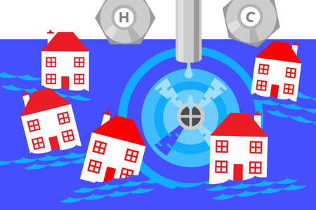 An illustration of a sink being drained and lots of small houses being sucked in to the vortex created by the plug hole. A metaphor on flood damage, insurance and collapse of the property market.