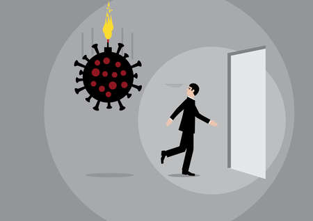 A vector illustration of a businessman running from a large Covid-19 virus that is about to explode.