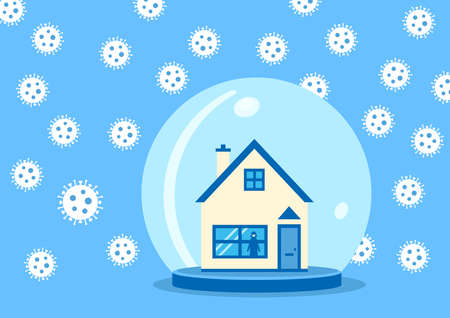A visual metaphor on self isolation and covid-19. A house in a snow globe with no snow but the virus floating around outside with a woman wearing a mask looking out of a window.