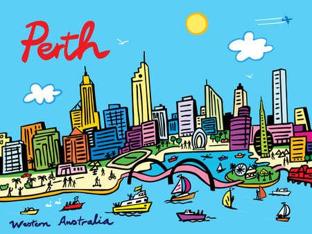 A cartoon style vector illustration of Perth city  harbor and skyline, Western Australia. 向量圖像