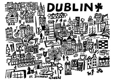 A hand drawn illustration of the city centre of Dublin, Ireland.