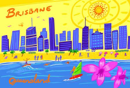 A hand drawn illustration of Brisbane city in Queensland, Australia.