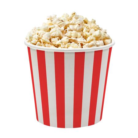 Popcorn in striped bucket on white background Foto de archivo