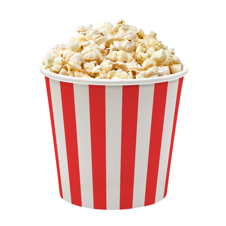 pop: Popcorn in striped bucket on white background Stock Photo