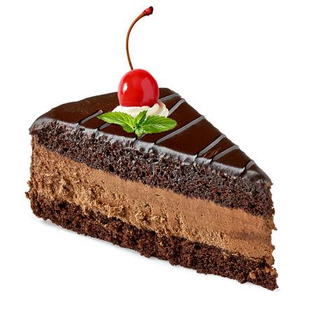 Devils cake with maraschino cherry on white background