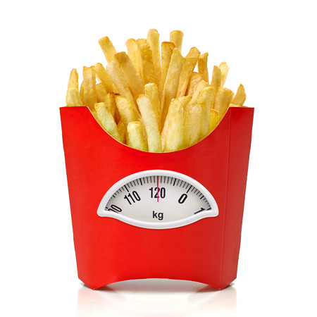 kg: French fries box with weight scale in Kg. on white background Stock Photo