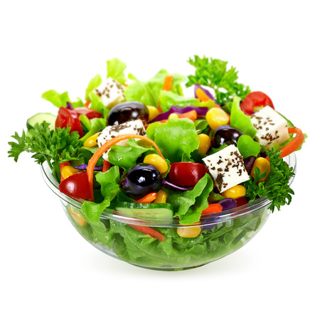 Salad in takeaway container on white background Foto de archivo