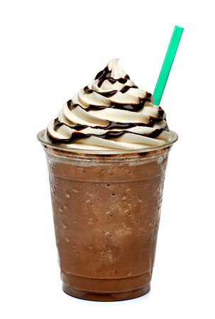 brown background: Frappuccino in takeaway cup on white background