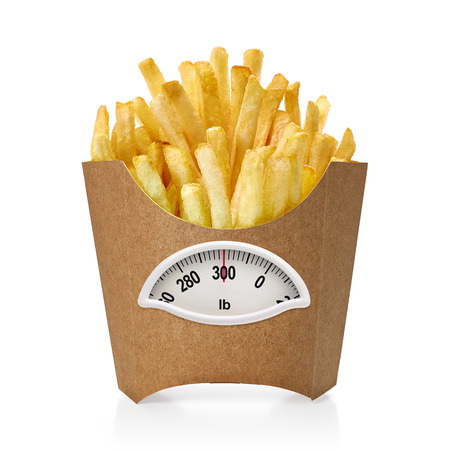lb: French fries box with weight scale in Lb. on white background