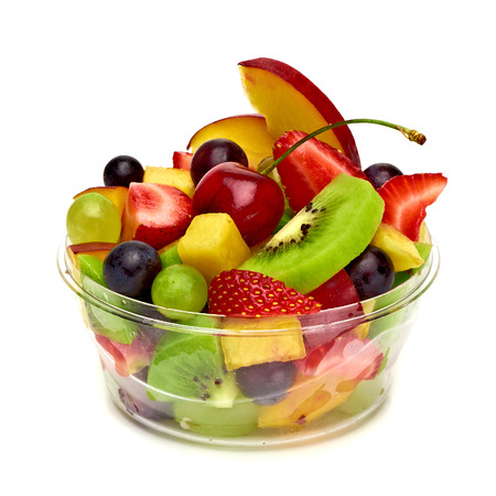 Fruit salad in take away cup on white background