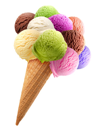 Bunch of ice cream with cone on white background