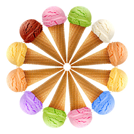 calory: Six ice creams in cones on white background Stock Photo