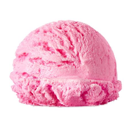 ホワイト バック グラウンド側からストロベリー アイス クリーム スクープ