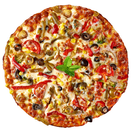pizza crust: Mixed pizza from top on white background