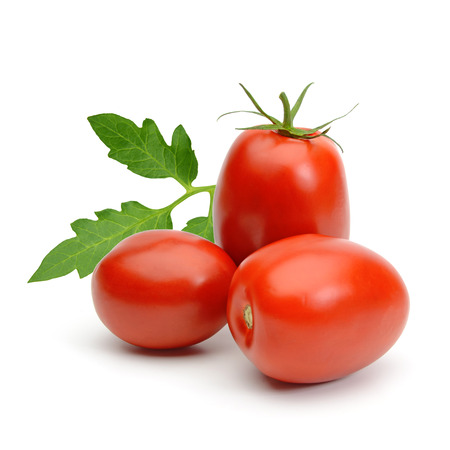 Plum tomatoes on white background Stockfoto