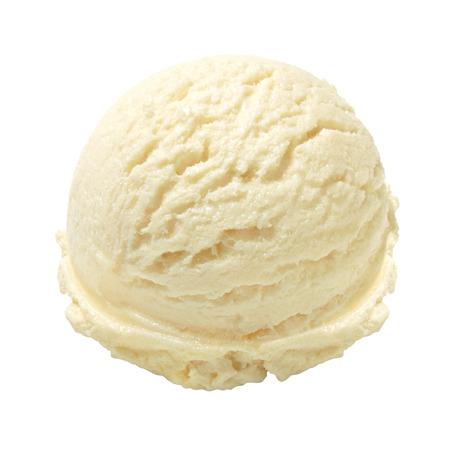 白い背景にバニラアイス クリームのスクープ 写真素材