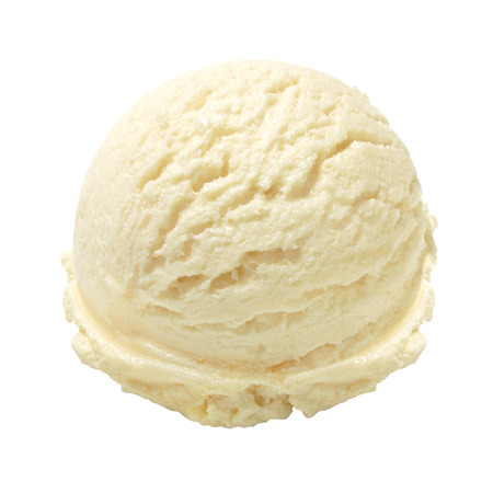 Scoop of vanilla ice cream on white background