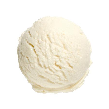 クリッピング パスと白い背景にバニラアイス クリームのスクープ