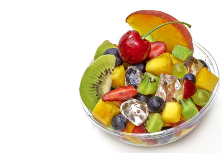 heathy diet: Takeaway cup of fruit salad on white background. Stock Photo