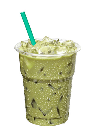 Iced green tea latte in takeaway cup isolated on white background Stock Photo