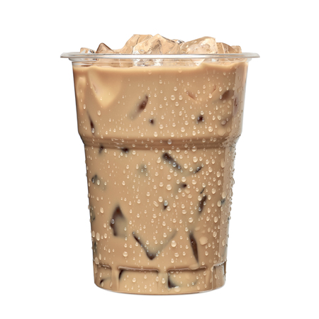 Iced latte or iced coffee in takeaway cup on white background Reklamní fotografie