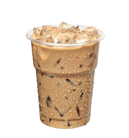Iced latte or iced coffee in takeaway cup on white background