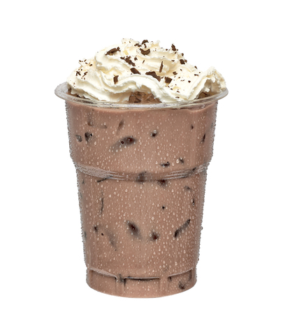 Iced mocha in takeaway coffee cup on white background Stock Photo
