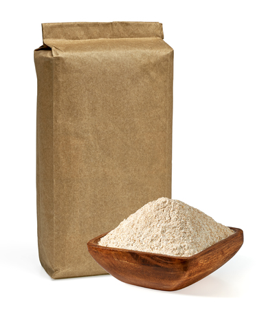 Blank pack of flour with wooden bowl on a white background