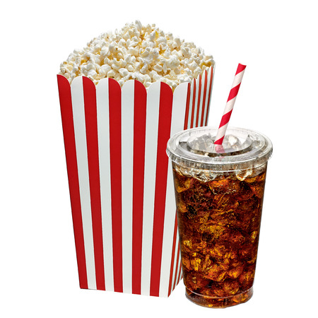 soda: Popcorn in box with cola in takeaway cup on white background