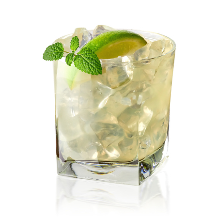 gimlet: Vodka lime, gimlet or gin tonic with ice in glass on white background