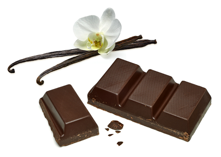 white bars: Chocolate bars with vanilla beans on white background