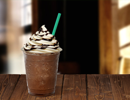 ice blended coffee on wooden table