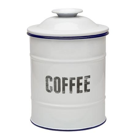 enamel: White enamel coffee canister