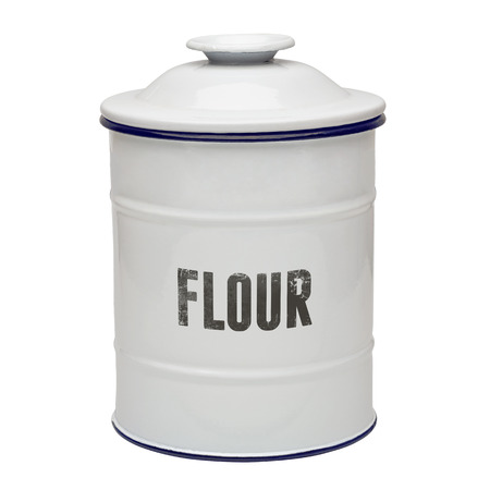 Canister: White enamel floor canister