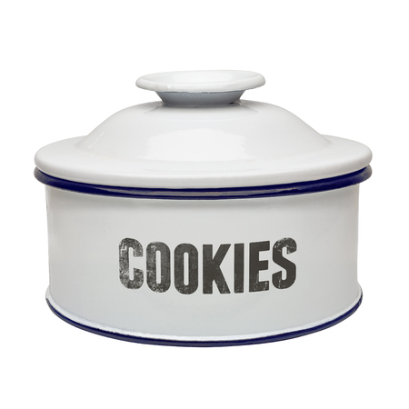 canister: White enamel canister cookies on white background Stock Photo