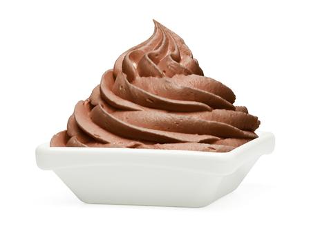 Chocolade bevroren yoghurt dessert op een witte achtergrond