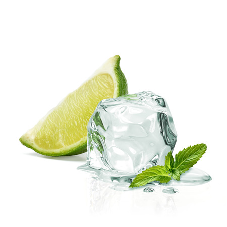 Slice of lime wedges, ice and mint isolated on white background