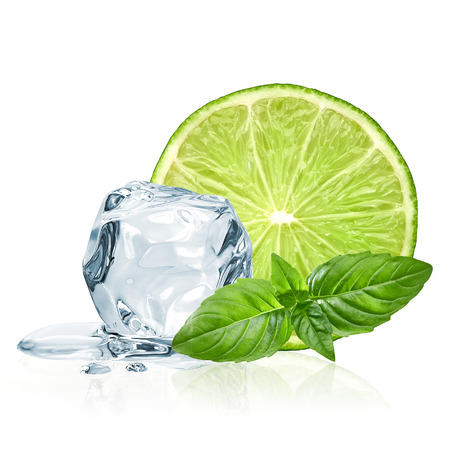 lime: Lime slice and ice isolated on white background with basil leaves Stock Photo
