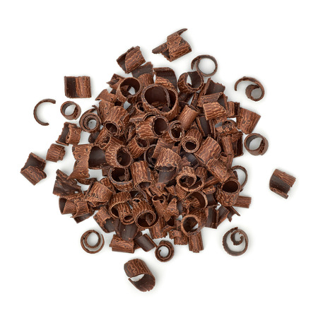 excelsior: Chocolate curls pile on white background