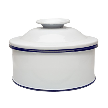 canister: White enamel canister on white background
