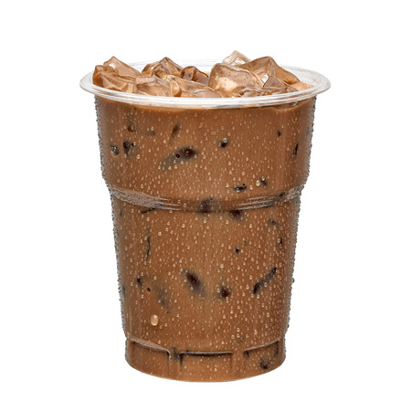 アイス コーヒーを奪う白い背景に分離されたカップ 写真素材