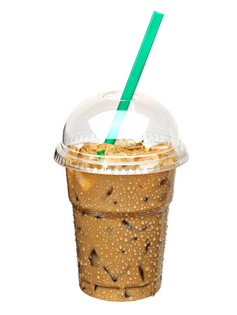 lite food: Iced coffee in takeaway cup Stock Photo