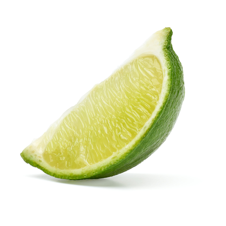 Slice of lime wedge isolated on white background
