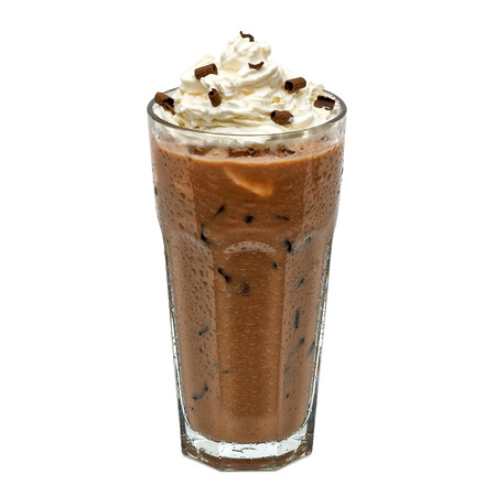 Iced coffee mocha in glass with cream isolated on white background